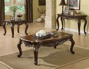 Traditional coffee table sets traditional round coffee for Traditional glass top coffee table