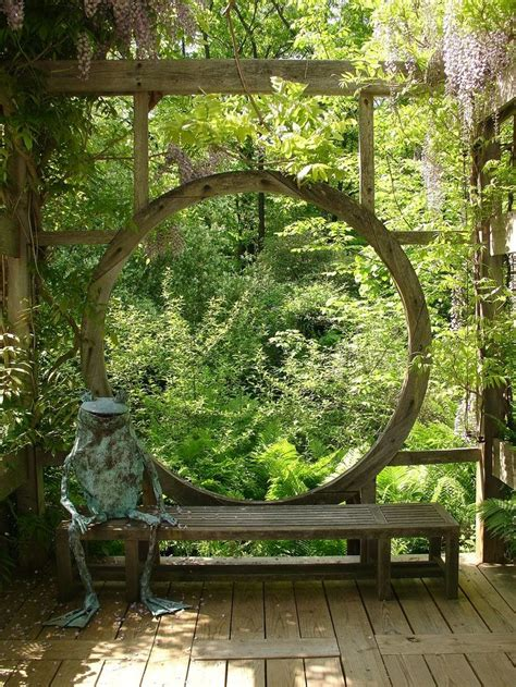 quot moon gate quot esque wooden window on deck by karl gercens