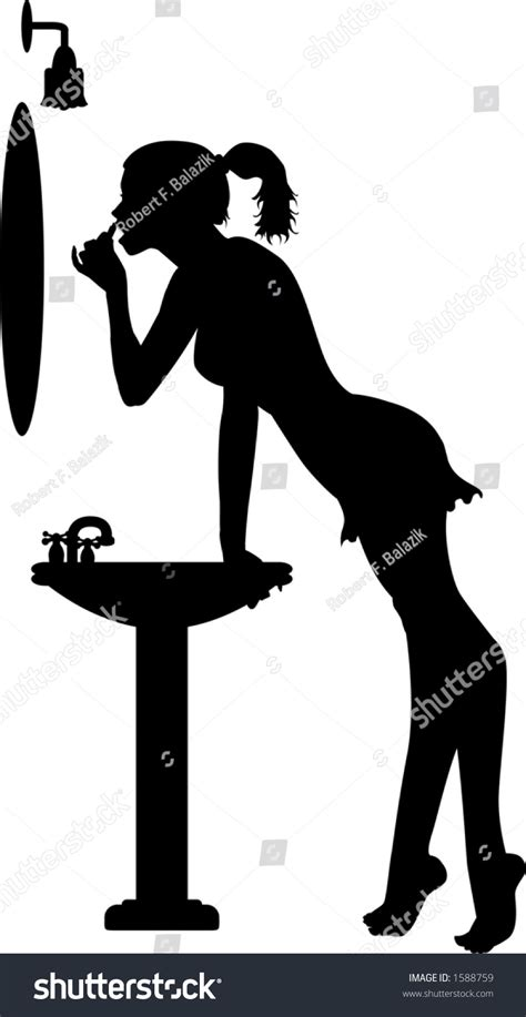 vector silhouette graphic depicting woman applying stock