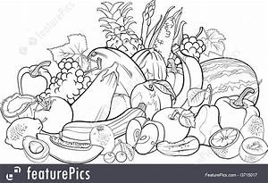 Illustration Of Fruits And Vegetables For Coloring Book