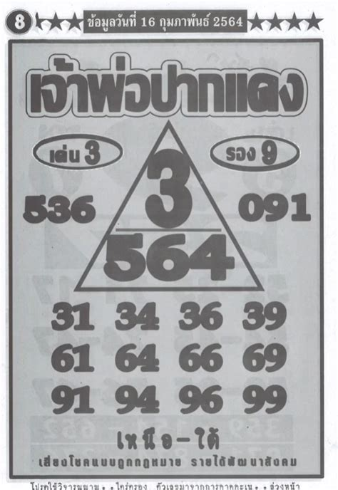 สวัสดีคนรักเลขเด็ดทุกท่าน งวดนี้แอดมินนำเอา เลขอั้นประจำงวด มาฝากให้ทุกท่านใด้พิจารณา สำหรับตัวเลขที่อั้น ก็จะเป็นเลข. เลข เจ้าพ่อปากแดง งวดนี้ 16/2/64   เลขเด็ด เลขดัง หวย ...