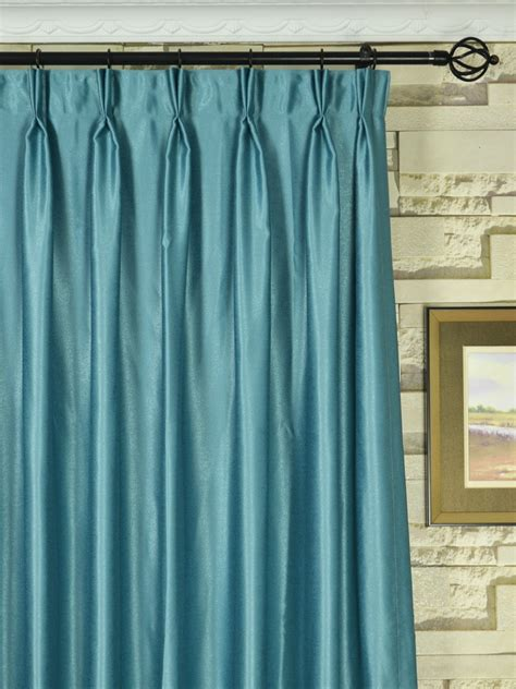 Ready Made Pinch Pleat Drapes - swan gray and blue solid pinch pleat ready made