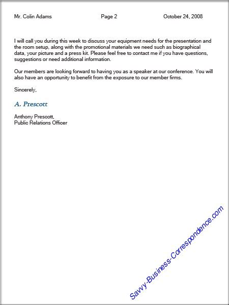 Business Letter Format Header Second Page Example Good Resume Template