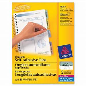 avery printable self adhesive tab ld products With avery index tabs with printable inserts template
