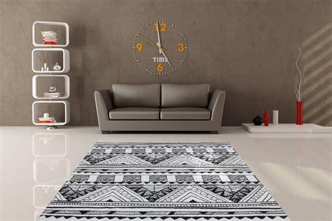 tapis salon noir  blanc idees de decoration interieure
