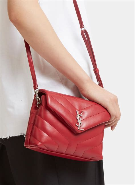 lyst saint laurent womens toy loulou strap matelasse bag  red  red