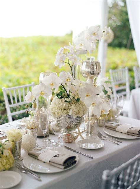 White Orchid Hydrangea Centerpieces