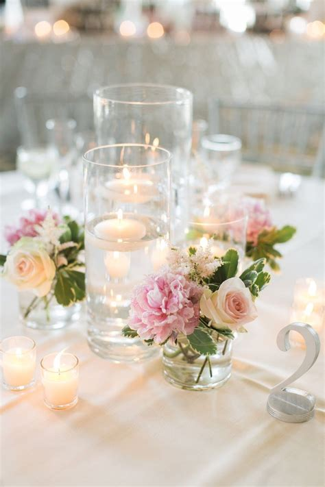 glass pillar candlestick les fleurs floating candle centerpieces blush pink