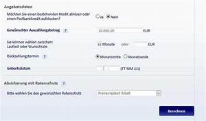 Laufzeit Kredit Berechnen : postbank kredit infos zu konditionen laufzeit und service ~ Themetempest.com Abrechnung