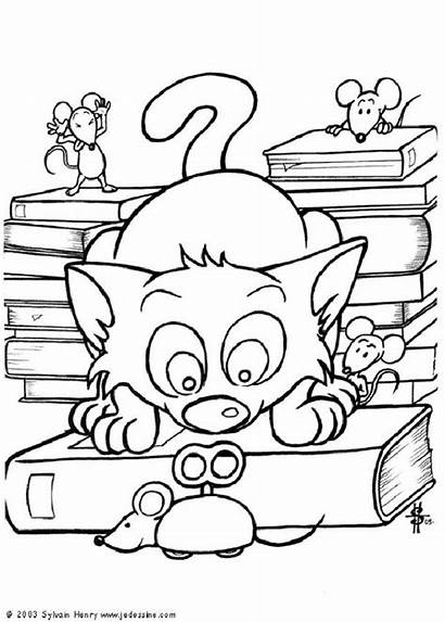 Cat Mechanical Coloring Pages Mice Drawing Animal
