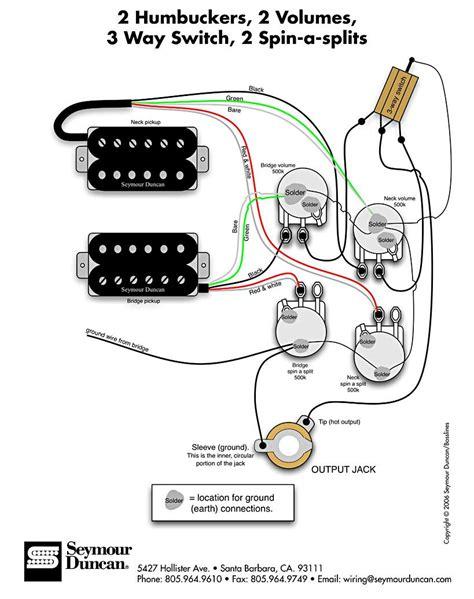 seymour duncan wiring diagram 2 humbuckers 2 vol 3 way 2 spin a splits tips tricks in
