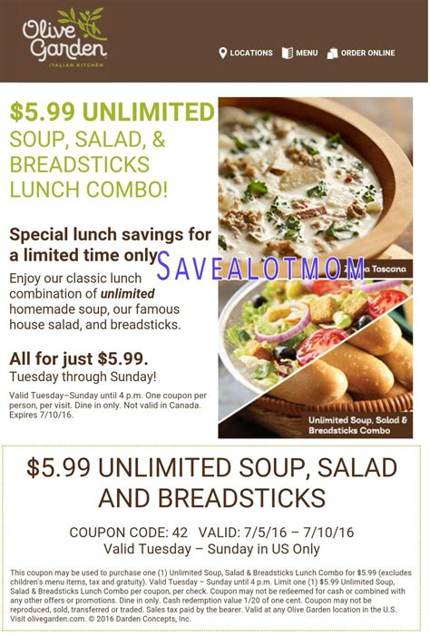 olive garden menu lunch olive garden 5 99 for unlimited soup salad and
