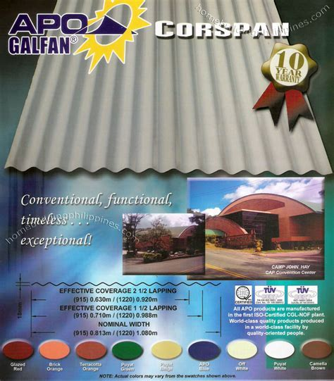 Apo Galfan Corspan Steel Roofing Colors Philippines