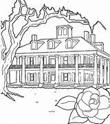 Coloring Houses Plantations Drawing Line Netart sketch template
