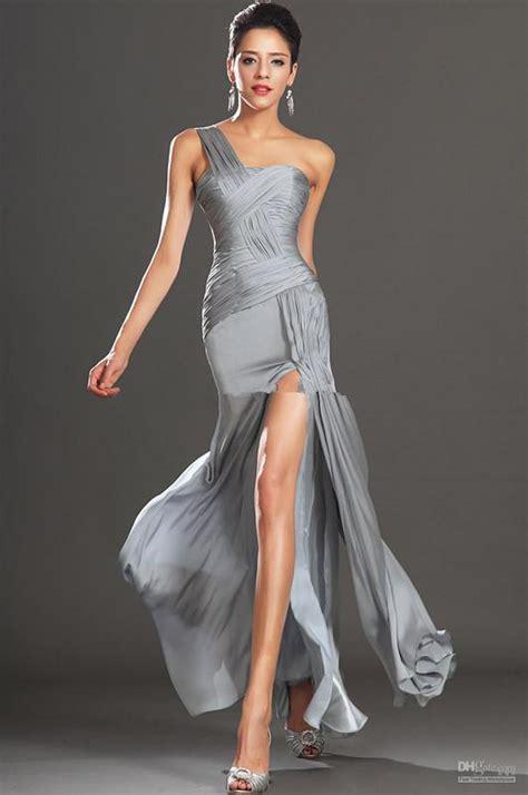 cheap gray long prom dress  shoulder vestidos sexy