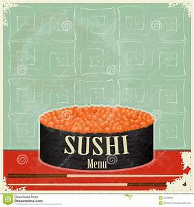 Vintage Sushi Menu - The Food On Grunge Background Stock ...