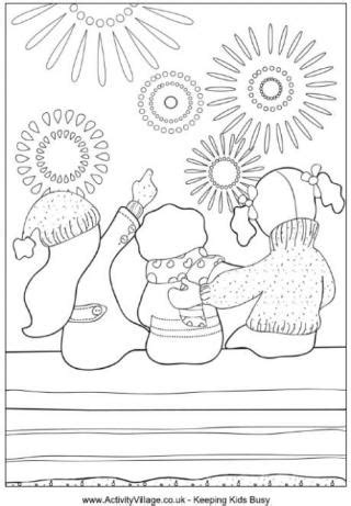kids sparklers colouring page