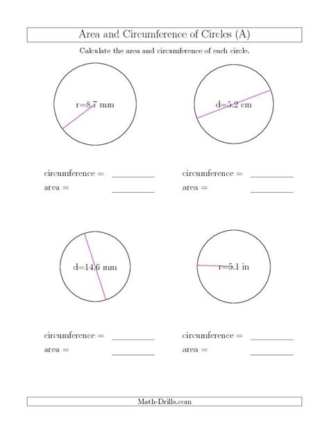 calculate circumference and area of circles a new math