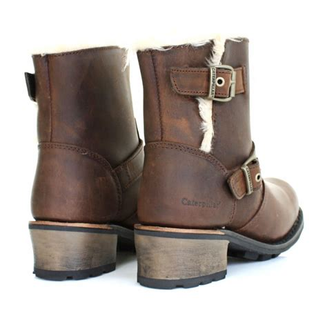 womens brown leather biker boots womens caterpillar anna kick brown leather fur trim ankle