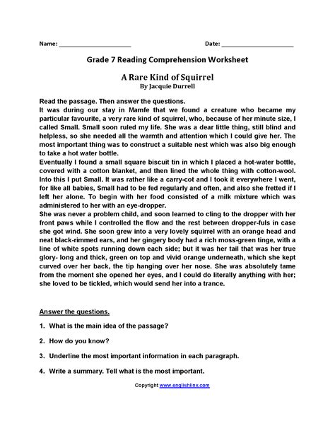 reading comprehension worksheet year 7 rcnschool