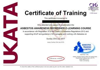 ukata approved asbestos awareness  learning asbestos