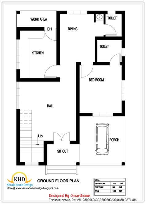 1000 Sq Ft House Plans 2 Bedroom Indian Style by House Plan And Elevation 1700 Sq Ft Home Appliance