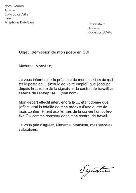 modele de lettre de demission cdd lettre de d 233 mission cdi 233 tudiant mod 232 le de lettre