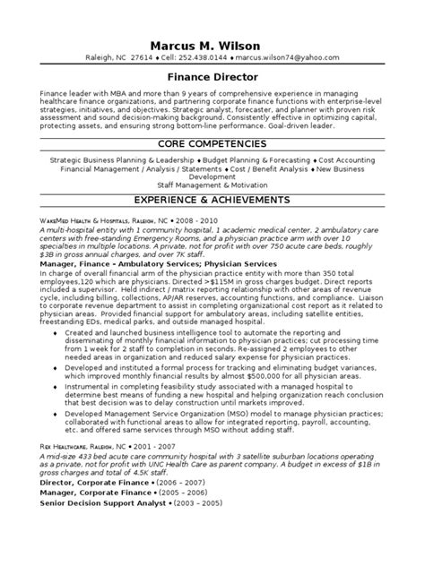 Resume F B Director by Healthcare Finance Director In Raleigh Nc Resume