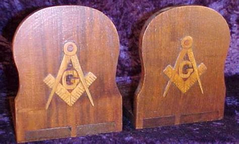 handcrafted masonic bookends