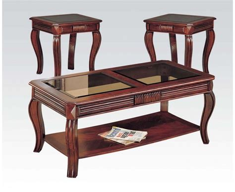 Details about furniture coater company of america cherry wood beveled glass sofa table. Acme Furniture 6152 Overture Cherry Coffee & End Table Set Pine Wood Pack Of 3pc 840412061523 | eBay