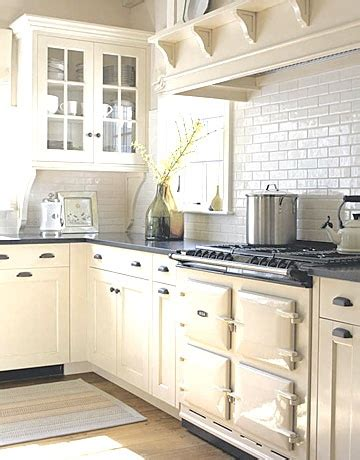 Combine Cream Cabinets And Aga With White Backsplash  Old