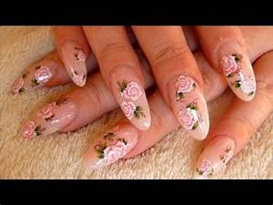 PINK ROSES - OVAL ACRYLIC NAILS - YouTube