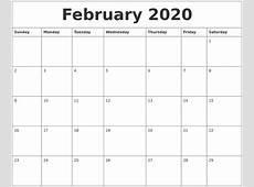 February 2020 Calendar Monthly