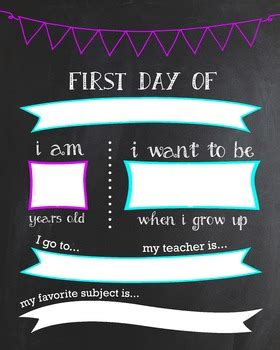 day  school customizable chalkboard poster fill