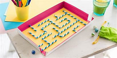 Maze Games Marble Easy Crafts Straw Paper