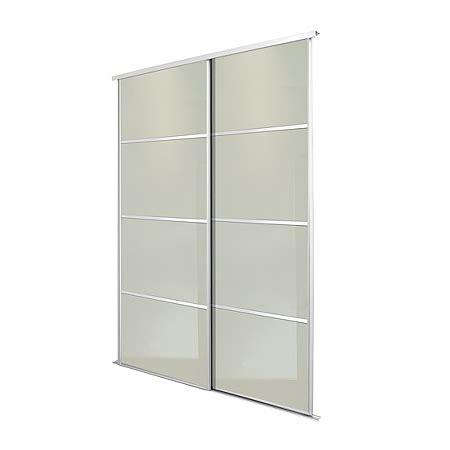 silver frame white glass  panel sliding wardrobe doors