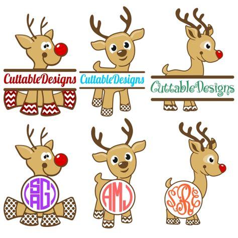 reindeer rudolph monogram cuttable design frames