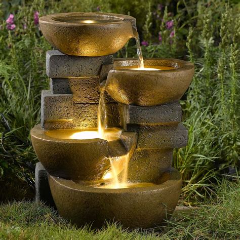 jeco pots water outdoor fountain with led light