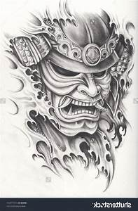 Japanese Warrior Mask Tattoos Japanese Samurai Warrior ...