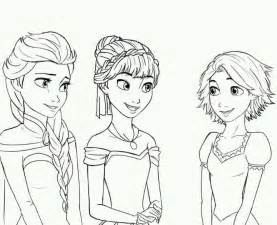 Rapunzel Anna and Elsa Coloring Page