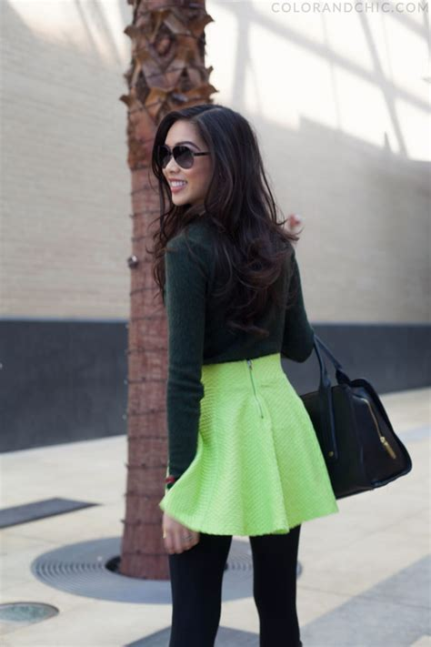 generous green neon circle skirt warm sweater color