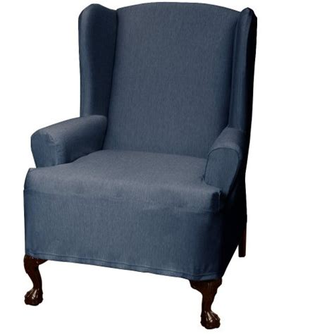maytex stretch twill wing chair cover denim 59 99