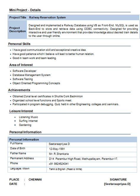 Interest Area In Resume by Information Technology Resume Format