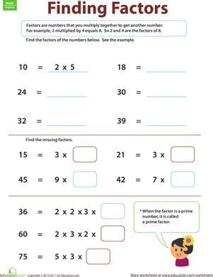 finding factors worksheet education com