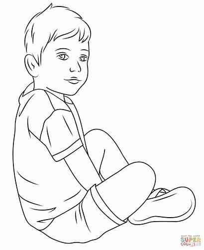 Coloring Child Drawing Pages Boys Nice Printable