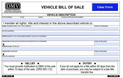 oregon dmv vehicle bill  sale  form