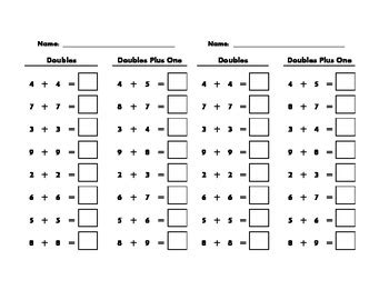 Doubles And Doubles Plus One Addition Review Worksheet Tpt