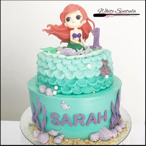 mermaid buttercream cake white spatula