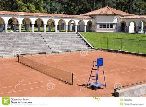 empty tennis courts view outdoor stock photo image