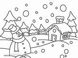Winter Drawing Season Easy Sketch Coloring Pages Children Nature Landscape Animals Scene Drawings Christmas Draw Simple Worksheets Printable Tornado Memory sketch template